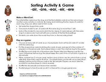 Final /air/ Word Sort and Game