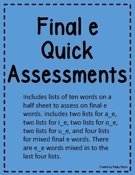 Final e Assessment Magic e Quick Assessment