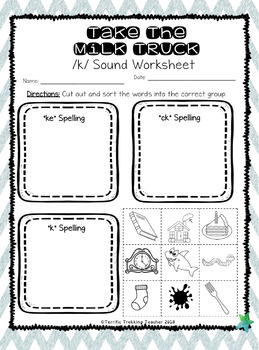Final /k/ Sound Worksheets ~ Take The Milk Truck ~ O-G Inspired & With Answers!