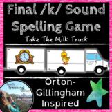 Final /k/ Spelling Game - Take The Milk Truck - Orton-Gillingham inspired!