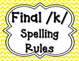 Final /k/ Spelling Posters