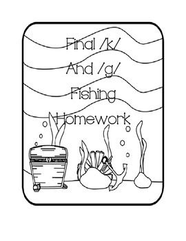 """Speech Therapy: Final /k/ and /g/ words """"fishing"""" homework"""