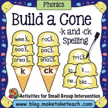Final /k/ - ck or k Spelling Ice Cream Cone