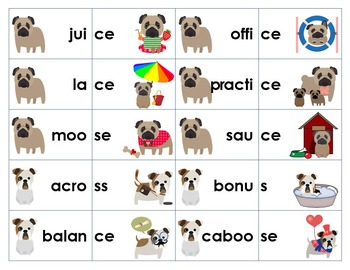 Final /s/ word sort and game: -ce, -s, -se, -ss