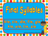 Final syllables dle, ble, dle, gle, zle, ple