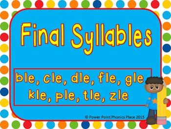 Final syllables dle, ble, dle, gle, zle, ple