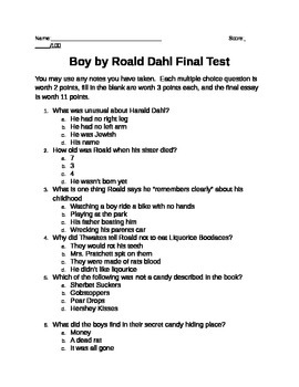 "Final test for ""Boy"" by Roald Dahl"