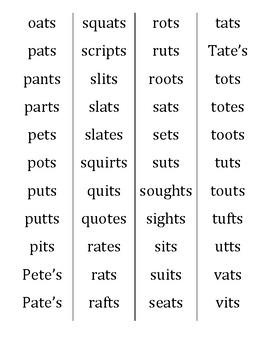 Final /-ts/ word list