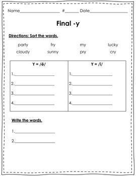 Final y = long e or i Worksheet/Quiz