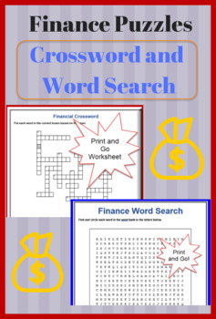Finance Crossword Puzzle and Word Search with Answers - ESL, Business