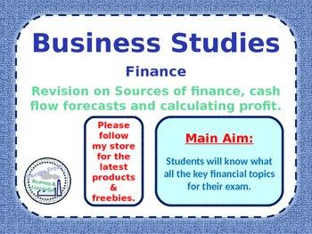 Finance Lesson - Sources of Finance / Calculating Profit & Cash Flow Forecasts