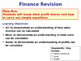 Finance Lesson - Sources of Finance / Calculating Profit &