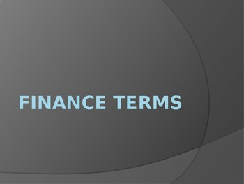 Finance Terms PowerPoint Presentation