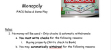 Money Management Monopoly Rules & Game Direction Sheet - Using Checks, Deposits