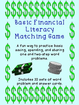 Finance Word Problems Matching Game TEKS 4.10B and 4.10E