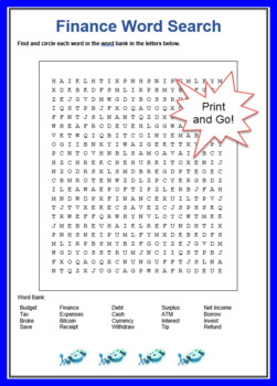 Finance Word Search with Answers - ESL