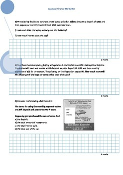Finance Worksheet - Buying on Terms, Credit Card Statements