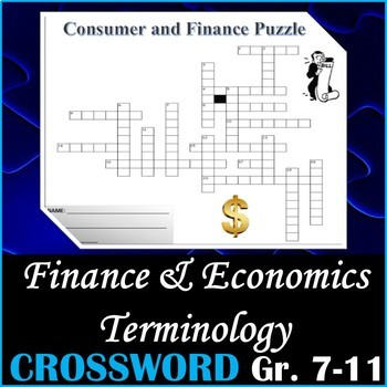 Finance and Economics Terminology - Crossword Puzzle Activity Worksheet