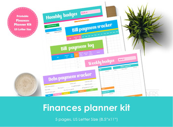 photo regarding Bill Payment Tracker Printable named Finance planner package printable.US Letter Dimensions. Invoice and financial debt tracker