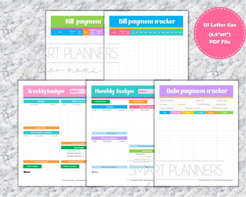 photo relating to Debt Tracker Printable identified as Finance planner package printable.US Letter Dimension. Monthly bill and credit card debt tracker