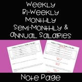 Weekly, Monthly, Semi-Monthly, Yearly Income - Note Page &