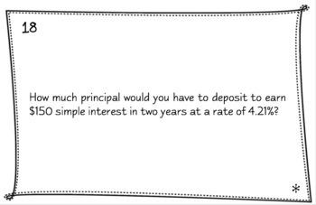 Financial Algebra - Simple Interest Task Cards