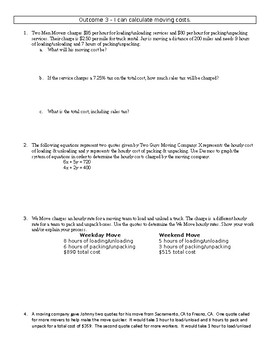 Financial Algebra - Systems of Equations worksheet