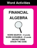 Financial Algebra - Word Search, Scramble,  Secret Code,  Crack the Code
