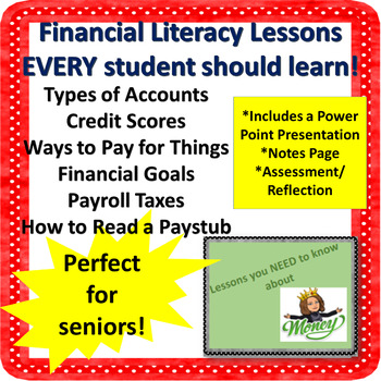 Financial Awareness Lesson With Handout and Reflection NO PREP!