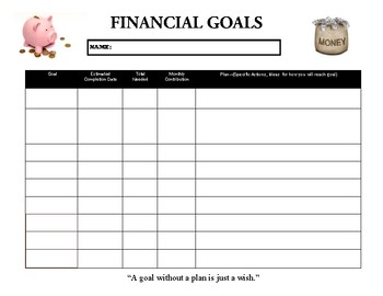 Financial Goal Worksheet