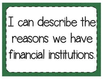 Financial Institutions Interactive Notebook Activity & Quick Check TEKS 4.10E