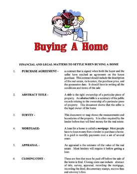 Financial & Legal Matters To Consider When Buying A Home Lesson