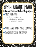 Financial Literacy: 5th Grade Interactive Notebook Pages