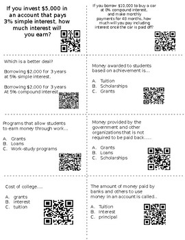 Financial Literacy 8th Grade With QR Codes