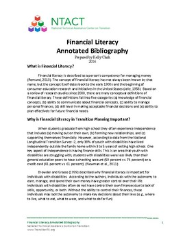 Financial Literacy Annotated Bibliography