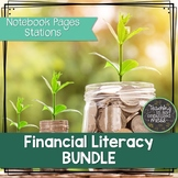 Financial Literacy BUNDLE 6th Grade Math-Notebook Pages and Stations