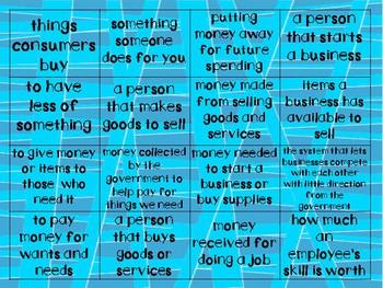 Financial Literacy Bingo