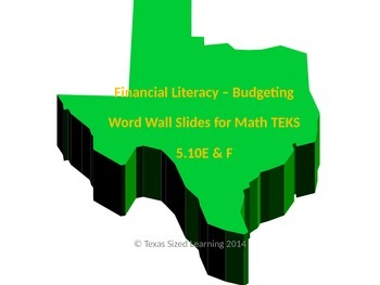 Financial Literacy - Budgets, Math TEKS 5.10E & F Vocab and Word Wall Cards