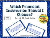Financial Literacy - Checking Account Options Task Cards TEKS 6.14A