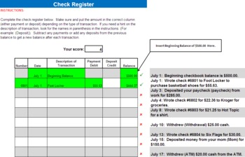 Financial Literacy Checking Assignment (check writing)