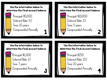Financial Literacy: Compound Interest Task Cards