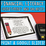 Financial Literacy Task Cards Credit, Debit, and Salaries:
