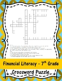 Financial Literacy - 7th Grade Crossword Puzzle