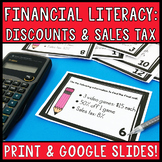 Financial Literacy: Discounts and Sales Tax Task Cards