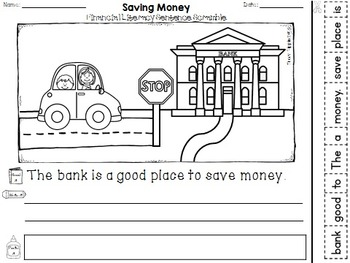 Financial Literacy:  Spending and Saving 1st Grade