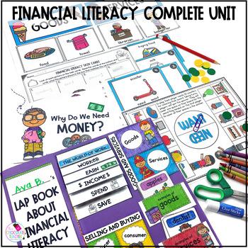 Financial Literacy & Economics Unit *Small Books, Task Cards, Lap Book & More*