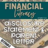 Financial Literacy Editable Disclosure Statement and Paren