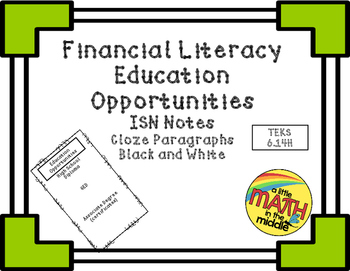 Financial Literacy Education Opportunities ISN Notes TEKS 6.14H
