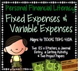 Financial Literacy: Fixed and Variable Expenses STAAR Aligned