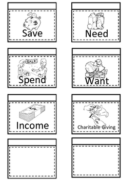 Financial Literacy Flip Flaps-Interactive Notebooks (Save, spend, give, income)